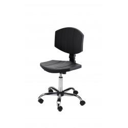 Obrotowe krzesło laboratoryjne - poliuretanowe - wersja chrom - KPU04-C1