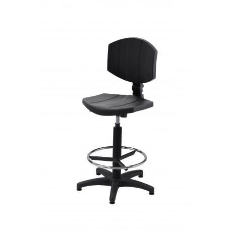 Obrotowe wysokie krzesło laboratoryjne z podnóżkiem - poliuretanowe - KPU04-A2