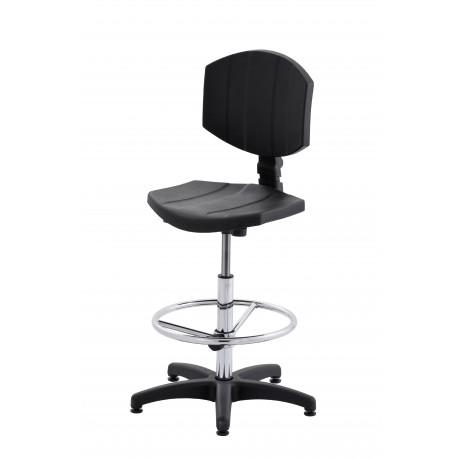 Wysokie obrotowe krzesło laboratoryjne z podnóżkiem regulowanym - poliuretanowe - KPU04-A3