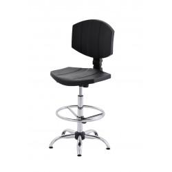 Obrotowe krzesło laboratoryjne z podnóżkiem regulowanym - poliuretanowe - wersja chrom - KPU04-C3