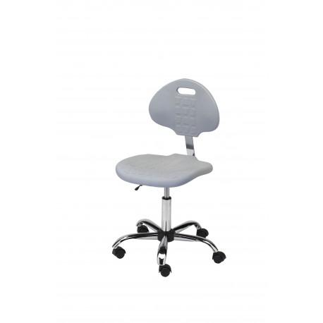 Obrotowe krzesło laboratoryjne z poliuretanu w kolorze popielatym wersja chromowana - KPU01w-C1p