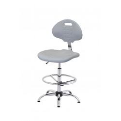 Wysokie obrotowe krzesło laboratoryjne z poliuretanu w kolorze popielatym, podnóżek regulowany, wersja chromowana - KPU01w-C3p