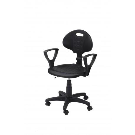 Krzesło obrotowe laboratoryjne z podłokietnikami - poliuretanowe - KPU01p-A1
