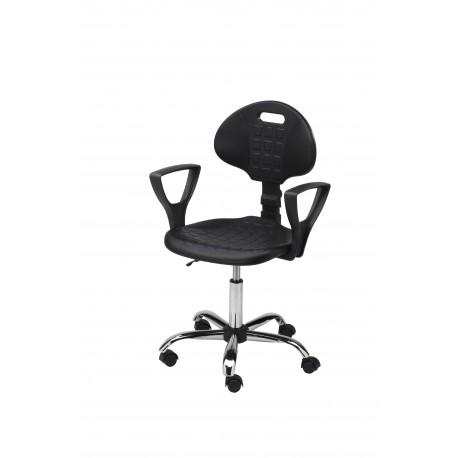 Krzesło obrotowe laboratoryjne z podłokietnikami - poliuretanowe - wersja chrom - KPU01p-C1