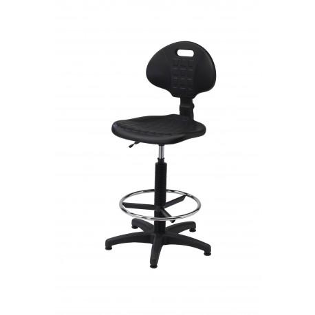Krzesło obrotowe laboratoryjne wysokie z podnóżkiem - poliuretanowe - KPU01-A2