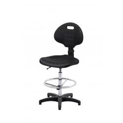 Krzesło laboratoryjne obrotowe wysokie z podnóżkiem regulowanym - poliuretanowe - KPU01-A3