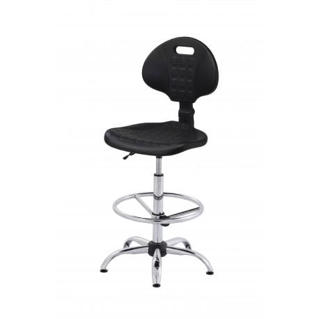 Krzesło laboratoryjne obrotowe wysokie z podnóżkiem regulowanym - poliuretanowe - wersja chom - KPU01-C3