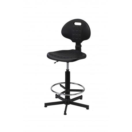 Krzesło laboratoryjne obrotowe wysokie z podnóżkiem - poliuretanowe - KPU01-B2