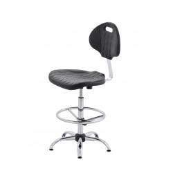 Krzesło obrotowe laboratoryjne wysokie z podnóżkiem rególownym - poliuretanowe - wersja chrom - KPU01w-C3