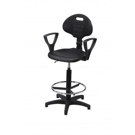 Wysokie obrotowe krzesło laboratoryjne z podnóżkiem i podłokietnikami - poliuretanowe - KPU01-A2