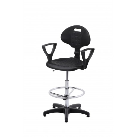 Wysokie obrotowe krzesło laboratoryjne z podnóżkiem regulowanym i podłokietnikami - KPU01p-A3