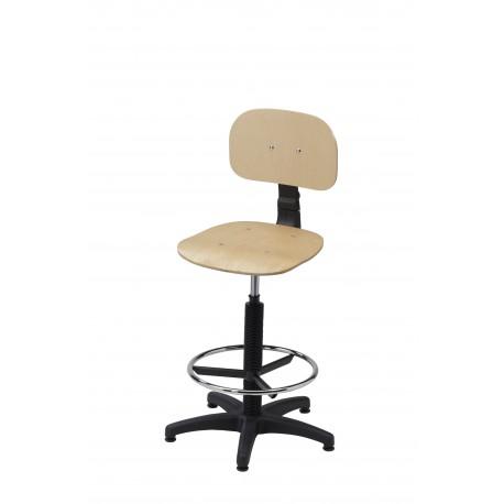 Obrotowe wysokie krzesło warsztatowe ze sklejki z podnóżkiem - KLM01-A2