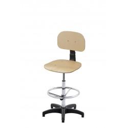 Obrotowe wysokie krzesło warsztatowe ze sklejki z podnóżkiem regulowanym - KLM01-A3