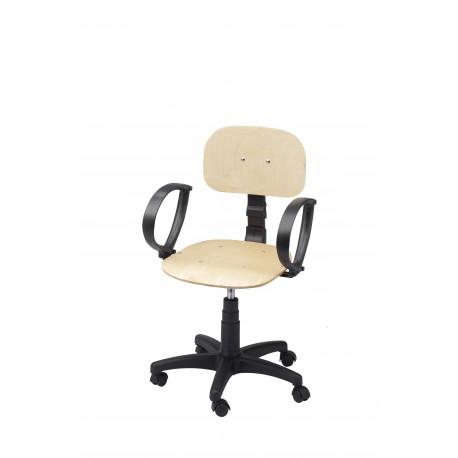 Obrotowe krzesło warsztatowe ze sklejki z podłokietnikami - KLM01p-A1