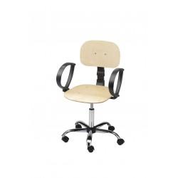 Obrotowe krzesło warsztatowe ze sklejki z podłokietnikami - KLM01p-C1