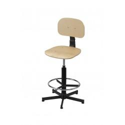 Obrotowe krzesło warsztatowe ze sklejki z podnóżkiem - KLM01-B2
