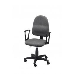 Obrotowe krzesło biurowe z podłokietnikami, tapicerowane tkaniną (szare) - KTT01p-A1