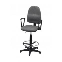 Obrotowe krzesło biurowe z podnóżkiem i podłokietnikami, tapicerowane tkaniną (szare) - KTT01p-A2