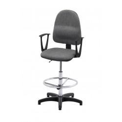 Obrotowe krzesło biurowe z podnóżkiem regulowanym i podłokietnikami, tapicerowane tkaniną (szare) - KTT01p-A3